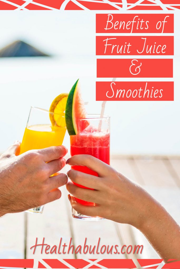 Pinable image of a glass of fruit juice and a smoothie