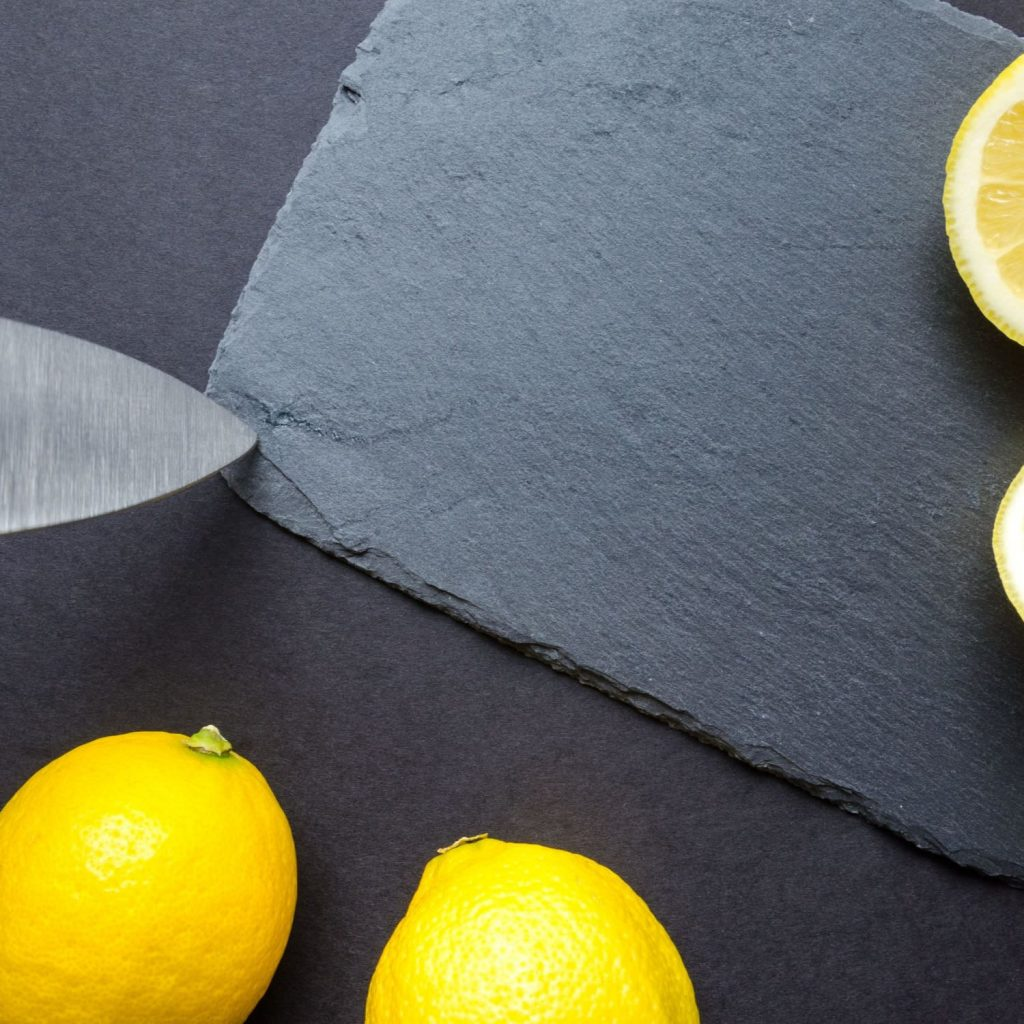 lemon on a slate board